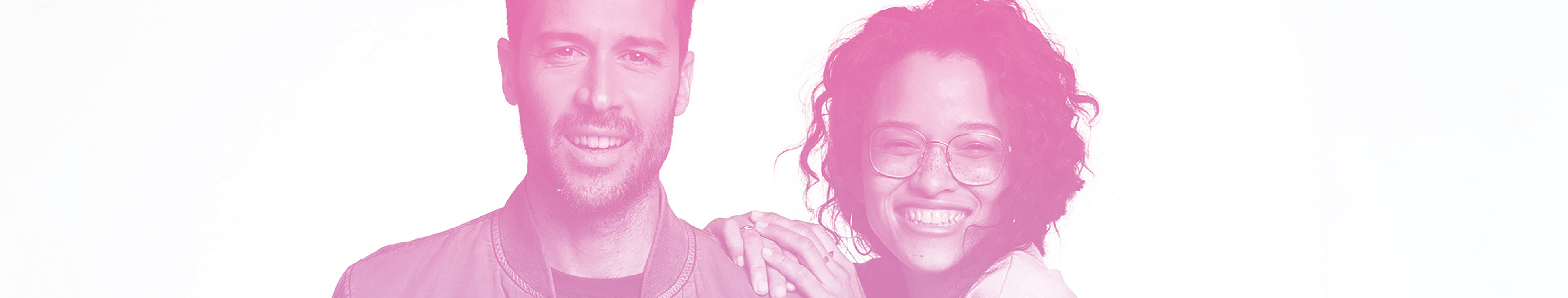 two people smiling with pink overlay